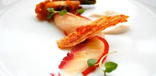 Beet-cured sturgeon with ramp kimchi by Blackbird restaurant in Chicago