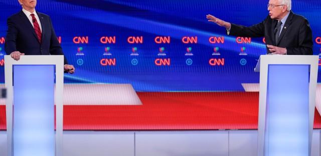 Biden and Sanders at CNN Democratic Presidential Debate