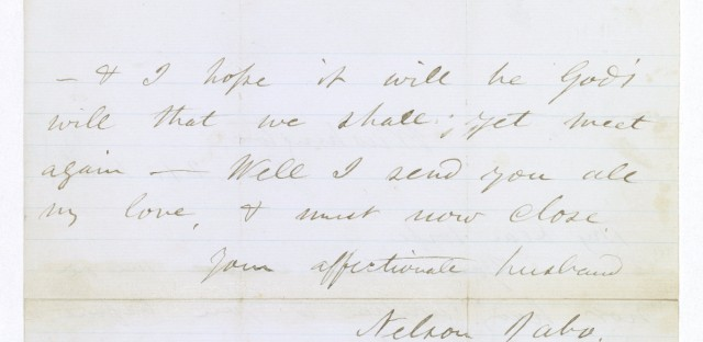 Walt Whitman wrote letters for soldiers he visited in hospitals. This is one of three researchers have found with Whitman's name on it. Courtesy U.S. National Archives and Records Administration