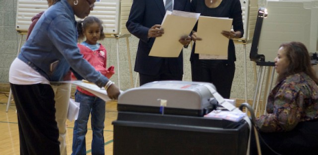 Democratic Presidential Nominee, Senator Barack Obama and his wife Michelle vote in Chicago, IL on election day, Nov. 4, 2008.