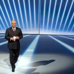 In this Sept. 14, 2015 photo Volkswagen CEO Martin Winterkorn, center, leaves the stage during the Volkswagen group night on the eve of the Frankfurt Auto Show IAA in Frankfurt, Germany. Volkswagen CEO Martin Winterkorn said Wednesday, Sept. 23, 2015 he is stepping down.