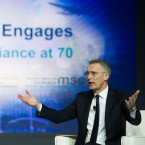 "Nato Secretary General Jens Stoltenberg addresses the Atlantic Council's ""NATO Engages The Alliance at 70"" conference, in Washington, Wednesday, April 3, 2019."