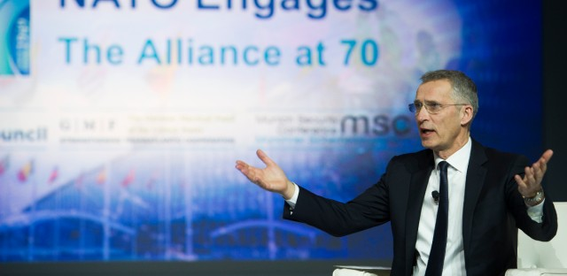 """Nato Secretary General Jens Stoltenberg addresses the Atlantic Council's """"NATO Engages The Alliance at 70"""" conference, in Washington, Wednesday, April 3, 2019."""