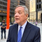 U.S. Sen. Dick Durbin talks to reporters on Monday.