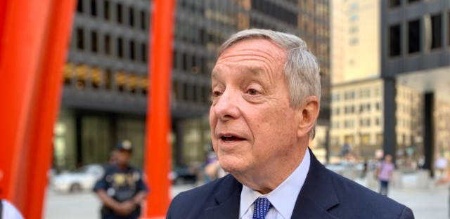 U.S. Sen. Dick Durbin talks to reporters on Monday. The Illinois Democrat slammed the Trump administration's continued efforts to add a citizenship question to the 2020 census, but he said the Republican-controlled Senate would resist attempts to challenge the president.