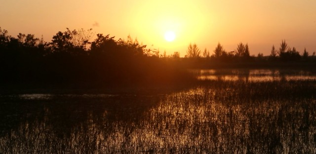 In this image made from video, the sun sets near an industrial park next to the Florida Everglades, Tuesday, Feb. 23, 2016, in Miami. Years before his Republican presidential bid, Marco Rubio pushed Miami-Dade County officials to allow a major industrial development to be built on restricted land near the Florida Everglades. That was two months after he backed a law as a member of the Florida Legislature that made it harder for people to challenge the kinds of developments he advocated for as a private attorney.
