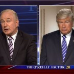 In a segment of Saturday Night Live on April 8, Alec Baldwin portrayed both Fox News host Bill O'Reilly and President Donald Trump.
