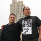 Actor-activist Mark Ruffalo, left, poses with Dallas Goldtooth, of the Indigenous Environmental Network, outside the state Capitol in Bismarck, N.D., Tuesday, Oct. 25, 2016.