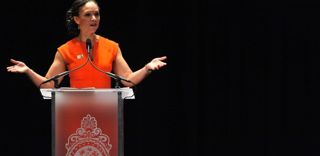 Melissa Harris-Perry speaks at the Maya Angelou Forever Stamp dedication at the Warner Theatre on April 7, 2015, in Washington, D.C. Harris-Perry hosted a weekend talk show on MSNBC but left that role last month, amid a dispute with the network.