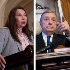 U.S. Sens. Dick Durbin (right) and Tammy Duckworth (left) demanded that state Public Health Director Nirav Shah step down from his post of nearly four years, citing WBEZ reporting about how a water-system repair that went awry might have contributed to the 2015 outbreak.