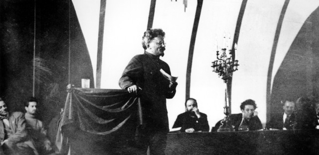 Leon Trotsky sings and addresses a huge assemblage during the sessions of the Third International, also known as The Communist International/Comintern, in Moscow in Dec. 1921.