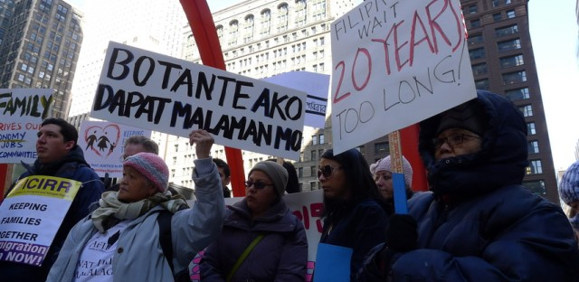 A coalition of immigrant rights advocates rallied in downtown Chicago to preserve family reunification and diversity visas. Congress is moving quickly on comprehensive immigration reform.