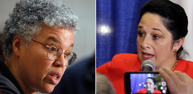 Cook County Board President Toni Preckwinkle (left) acknowledged Monday morning that she is behind a challenge to another reputed front-runner in the mayoral race, Illinois Comptroller Susana Mendoza (right).