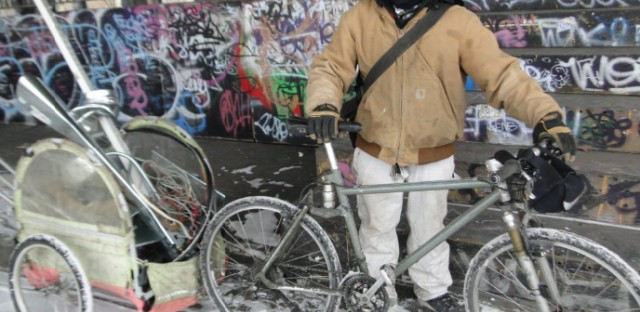 Ulysses Bonilla travels by bike to look for scrap metal even on the coldest winter days.