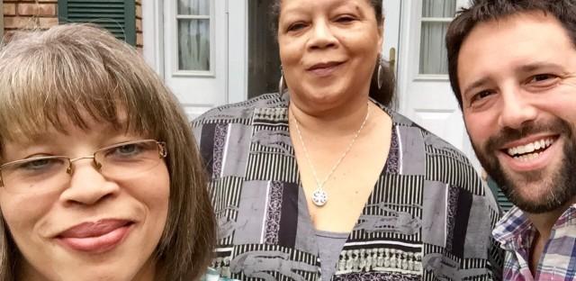 Rosa Parks' nieces Sheila McCauley Keys and Deborah Ann Ross (center) with the author, Dan Pashman.