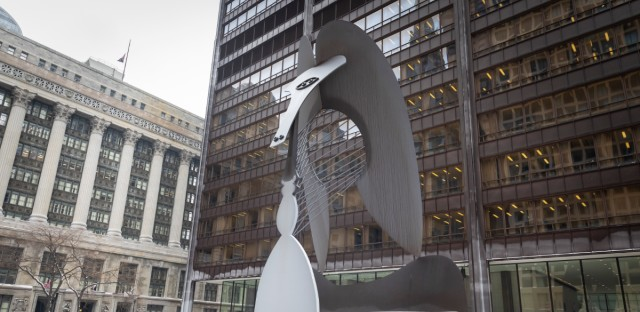 The Picasso in Daley Plaza in downtown Chicago in January 2019. The 50-foot tall, 162-ton sculpture was unveiled by then-Mayor Richard J. Daley on Aug. 15, 1967. The once-controversial sculpture has since become a noteworthy feature of the Chicago landscape.