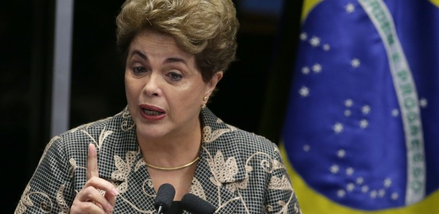 Brazil's suspended President Dilma Rousseff speaks at her own impeachment trial, in Brasilia, Brazil, on Aug. 29, 2016. Rousseff reminded senators that she was re-elected in 2014 by 54 million voters. She says that at every moment she has followed the constitution and done what was best for the country.