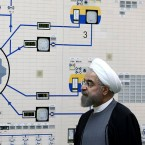 FILE - In this Jan. 13, 2015, file photo released by the Iranian President's Office, President Hassan Rouhani visits the Bushehr nuclear power plant just outside of Bushehr, Iran. Rouhani is reportedly set to announce ways the Islamic Republic will react to continued U.S. pressure after President Donald Trump pulled America from Tehran's nuclear deal with world powers. Iranian media say Rouhani is expected to deliver a nationwide address as soon as Wednesday, May 8, 2019, regarding the steps the country will take.