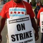 Teachers picket outside Morgan Park High School in Chicago. The Chicago Teachers Union voted in support of a strike.