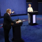 Republican presidential nominee Donald Trump debates Democratic presidential nominee Hillary Clinton on Wednesday during the third presidential debate, at UNLV in Las Vegas.
