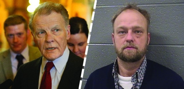 Michael Pelko (right) tried to block a Democrat running for state representative, with the help of Michael Madigan's top aides. A month later, Pelko was charged with murder. (Left: Seth Perlman/AP Right: Courtesy of Cook County Sheriff's Office)