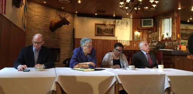 State Sen. Don Harmon, Cook County President Toni Preckwinkle, Cook County Recorder of Deeds Karen Yarbrough and Cook County Assessor Joseph Berrios gather for a meeting of the Cook County Democratic Party to hear from potential candidates for governor on Monday, March 27, 2017.