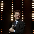 Director Sebastián Lelio with the Silver Bear for Best Screenplay for 'Una Mujer Fantastica' during the award ceremony at the 2017 Berlinale Film Festival in Berlin, Germany, Saturday, Feb. 18, 2017.