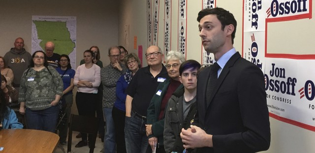 Georgia Democratic congressional candidate Jon Ossoff speaks to volunteers in his Cobb County campaign office last month.