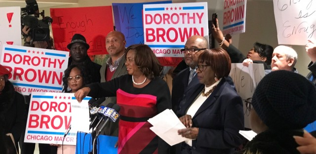 Dorothy Brown and her supporters hold a press conference in the basement of the Cook County building in downtown Chicago on Jan. 10, 2019 during her run for Chicago mayor.