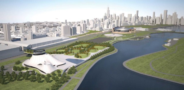 A draft image of what the new Lucas Museum would have looked like on the lakefront.