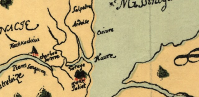 A close-up view of the spot on Joliet's map that would become Chicago. Note the spelling of Lake 'Misshiganin'!