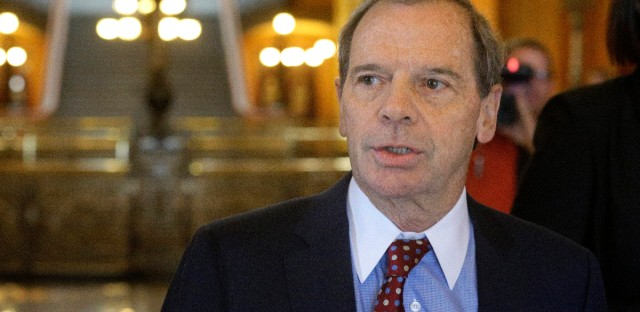 Illinois Senate President John Cullerton, D-Chicago, speaks to reporters outside Illinois Gov. Bruce Rauner's office at the Illinois State Capitol in Springfield, Ill.