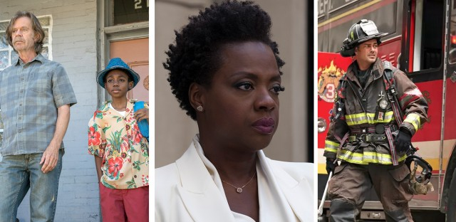 From left to right, stills from Showtime's 'Shameless,' 20th Century Fox's 'Widows,' and NBC's 'Chicago Fire.'