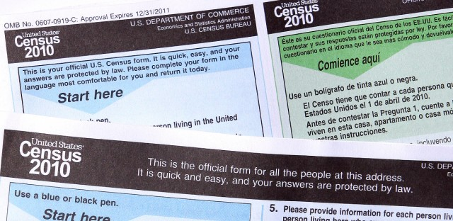 Copies of the 2010 Census forms are seen during a news conference in Phoenix to kickoff a national drive as Census forms are mailed to everyone on March 15, 2010.