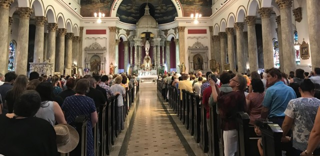 Parishioners gather for St. Adalbert Church's last mass in the city's Pilsen neighborhood on the Southwest Side, Sunday, July 14.