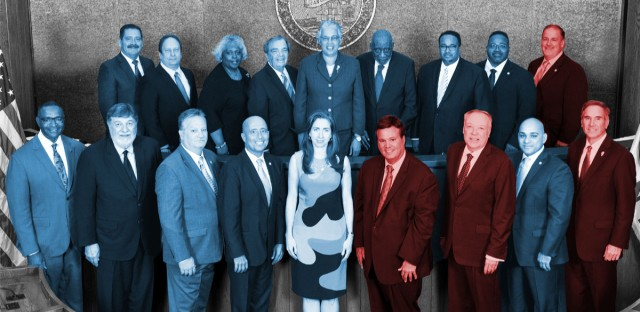 A picture of the Cook County Board of Commissioners, with a color wash of blue or red corresponding to each board member's party affiliation