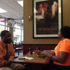 FORCE members and ex-offenders Marlon Chamberlain and Teleza Rodgers meet at a McDonald's on the city's west side. They work to notify ex-felons of the right to vote.