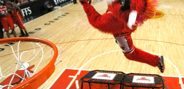 A dunk from Benny the Bull, the Chicago team's mascot.