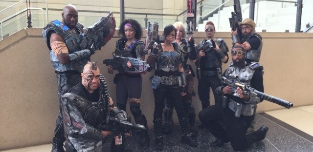 Chris English got a bunch of friends together to cosplay characters from his favorite video game, Gears of War. He made most of the costumes which are mostly made of foam. He says the material is light, but it's hot. He still thinks it's worth it.