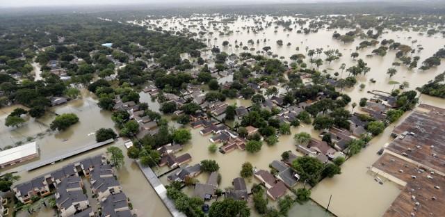 A Houston neighborhood near Addicks Reservoir is flooded by rain from Harvey on Aug. 29, 2017.
