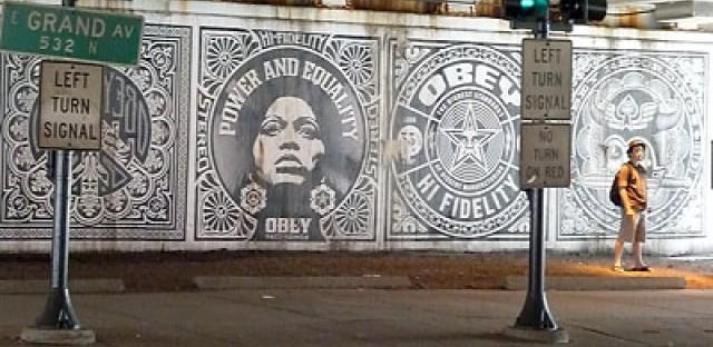 Bye Bye, Fairey's 'Obey' mural