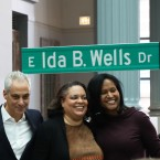 From left to right, Ald. David Moore, Mayor Rahm Emanuel, Ida B. Well's great-granddaughter Michelle Duster, and Ald. Sophia King pose as the street signs for Ida B. Wells Drive are unveiled on Monday, Feb. 11, 2019.