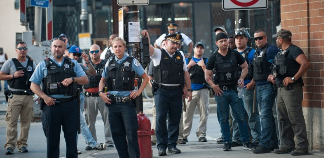 In this July 2018 file photo, Chicago police assemble during a protest in South Shore.