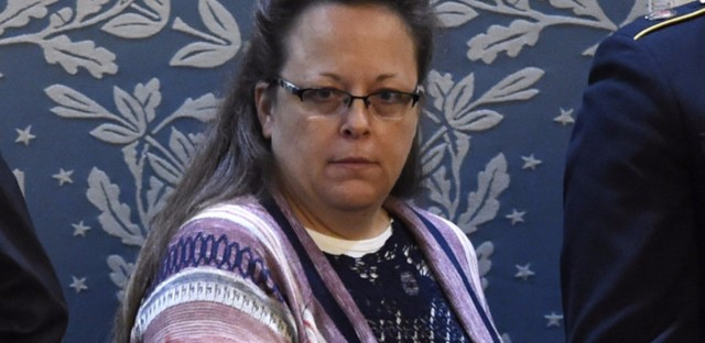 Kim Davis attends President Obama's State of the Union address in January 2016. The clerk for Rowan County, Ky., is being sued for refusing to issue marriage licenses on religious grounds in 2015.