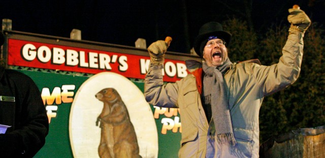 Actor Stephen Toboloswsky who appears in the movie Groundhog Day as Ned Ryerson makes an appearance at Gobblers Knob for Punxsutawney Phil's weather prediction in Punxsutawney, Pa., Tuesday, Feb. 2, 2010.