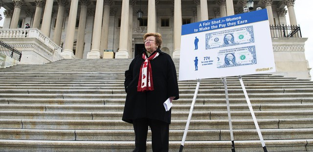 On April 2, 2014, Sen. Barbara Mikulski, D-Md., waited for her colleagues to arrive before a news conference on the Senate steps of the Capitol to support equal pay for women and an increase in the minimum wage.