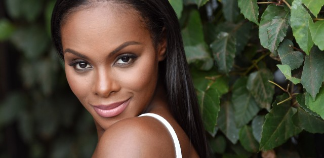 "In this Aug. 12, 2016 file photo, Tika Sumpter, a cast member and producer of the film ""Southside with You,"" poses for a portrait at The London West Hollywood hotel in West Hollywood, Calif. The film opens in theaters on Friday."