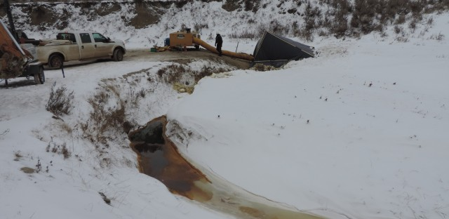 The weather has hindered efforts to clean up at the Belle Fourche pipeline spill site.