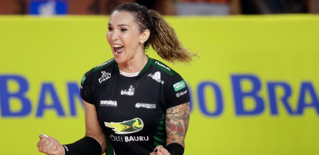 Bauru's volleyball player Tifanny Abreu celebrates a point during a Brazilian volleyball league match in Bauru, Brazil, Tuesday, Dec. 19, 2017. Tifanny Abreu is Brazil's first transgender person to play in the top volleyball league for women.