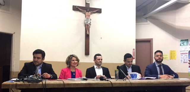 From left to right, 25th Ward aldermanic candidates Byron Sigcho Lopez, Aida Flores, Troy Hernandez, Alex Acevedo, and Hilario Dominguez gather at a two-hour forum at St. Pius Church on Jan. 24, 2019.
